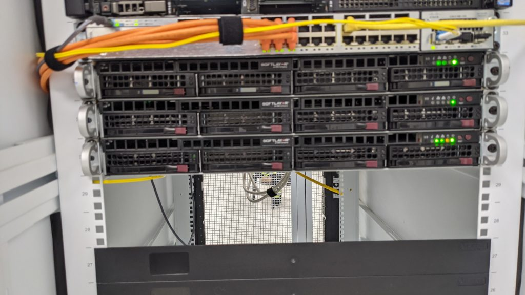 The servers and switch installed in the cabinet