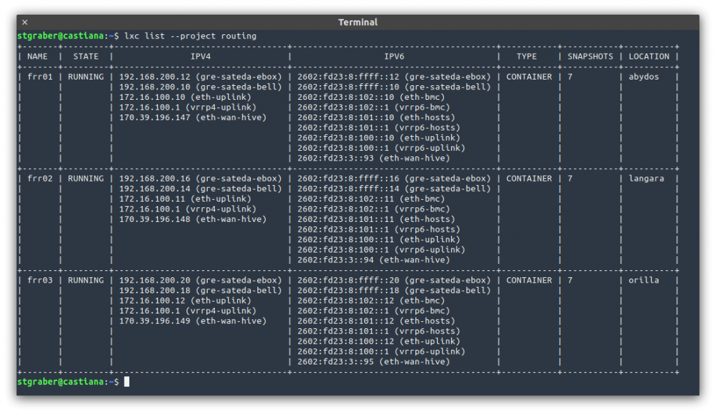 LXD output showing the 3 FRR routers