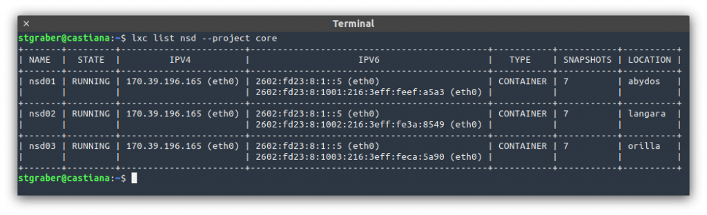 LXD output of my 3 DNS servers (backing ns1.stgraber.org) and using anycast